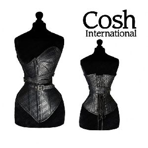 Black Leather Full Bust Steel Boned Corset