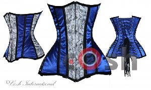 Blue & Grey Satin Underbust Steel Boned Corset
