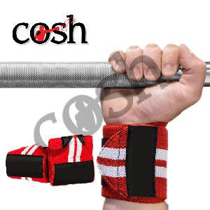 Red & White Weightlifting Wrist Wrap