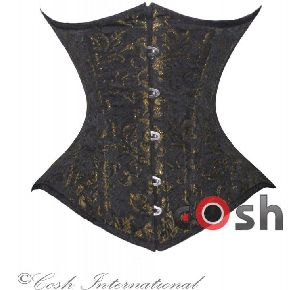 Golden Brocade Underbust Steel Boned Corset
