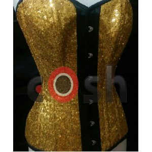 Golden Sequin Satin Full Bust Steel Boned Corset