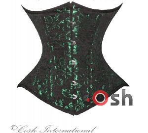 Green Brocade Underbust Steel Boned Corset