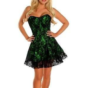 Green & Black Satin Steel Boned Corset Dress