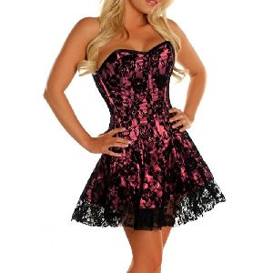 Pink & Black Satin Steel Boned Corset Dress
