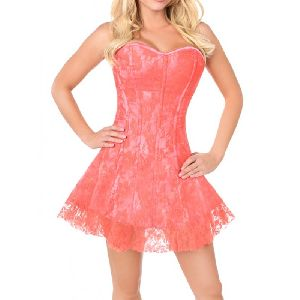 Pink Satin Steel Boned Corset Dress