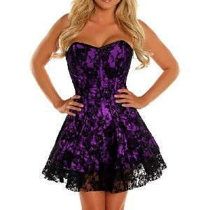 Purple & Black Satin Steel Boned Corset Dress