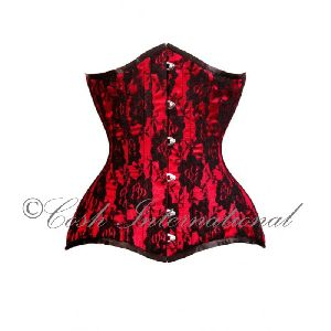Red & Black Satin Underbust Steel Boned Corset