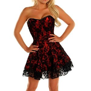 Red & Black Satin Steel Boned Corset Dress