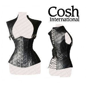 Black Leather Underbust Steel Boned Corset