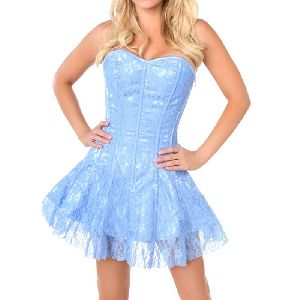 White & Blue Satin Steel Boned Corset Dress