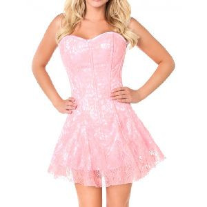 White & Pink Satin Steel Boned Corset Dress