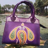 Leather Top Handle Bag Purple 02
