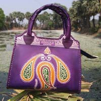 Leather Top Handle Bag Purple 01