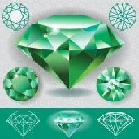 Round Diamond Cut Emerald Stone 02