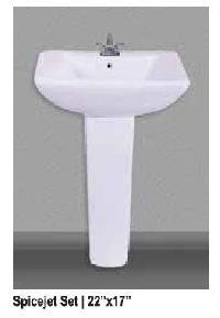 Spicejet Ceramic Pedestal Wash Basin