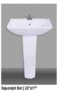 Squarejet Ceramic Pedestal Wash Basin