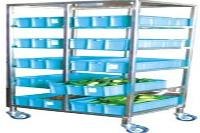 Vegetable Tray Stacking Trolley