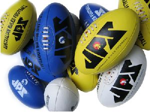 Blue, White & Yellow PU Material Aussie Rules Football