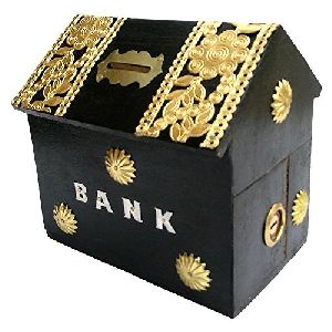 Wooden Hut Shaped Money Box