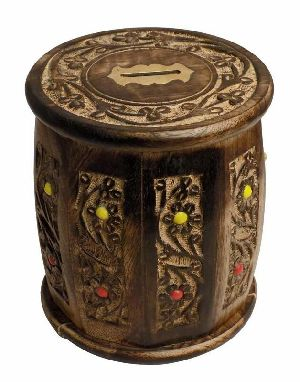 Wooden Round Shaped Money Box