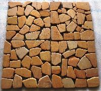 Teak Crazy Tumbled Mosaic