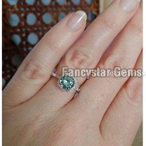 1.50 Carat Blue Moissanite Ladies 925 Silver Rings
