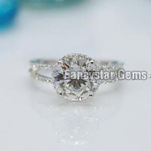 1.50Ct Off White Moissanite 925 Silver Split Shank Rings