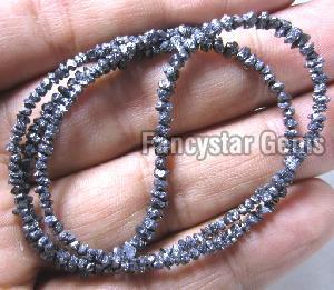 Black Color Rough Diamond Beads Necklace 01