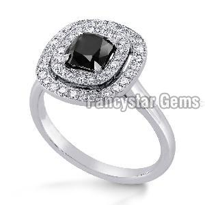 Black Diamond Engagement Ring 14