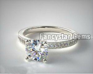 Bright Set Milgrain Pave Engagement Rings