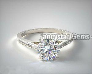 Double Claw Prong Pave Set Moissanite Engagement Rings