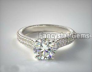 Double Row Pave Engagement Rings
