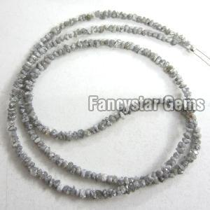 Gray Color Rough Diamond Beads Necklace