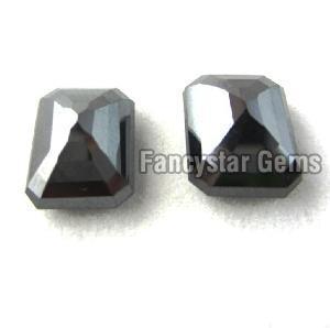 Natural Emerald Cut Black Loose Diamond 07