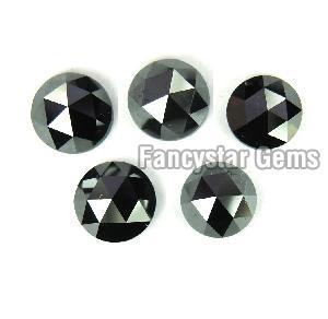 Natural Round Rose Cut Black Loose Diamond 07