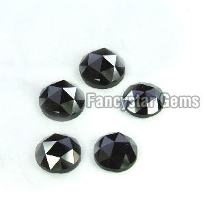 Natural Round Rose Cut Black Loose Diamond 08