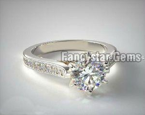 Pave Taper Milgrain Engagement Rings