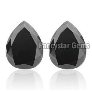 Pear Cut Natural Black Diamond 07