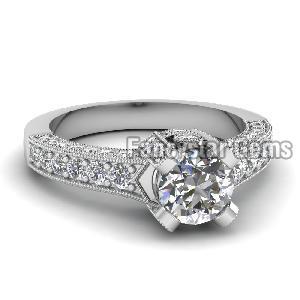 White Diamond Engagement Ring 02