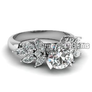 White Diamond Engagement Ring 04