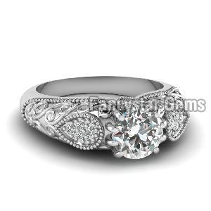 White Diamond Engagement Ring 07