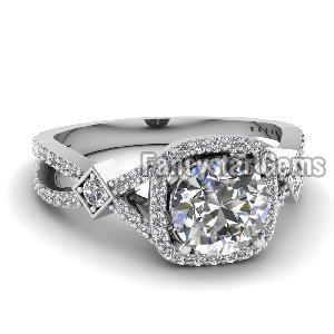 White Diamond Engagement Ring 08