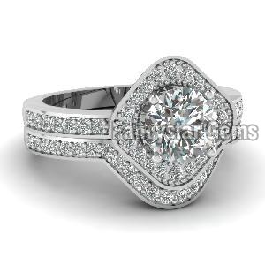 White Diamond Engagement Ring 14