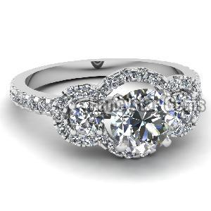 White Diamond Engagement Ring 16