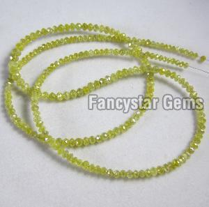 Yellow Color Faceted Diamond Beads Necklace 02