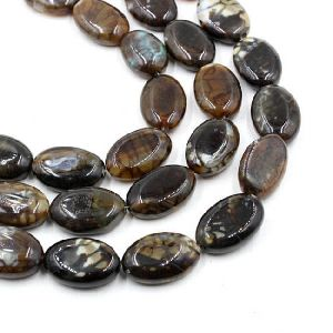 Agate Flate Oval Beads 03