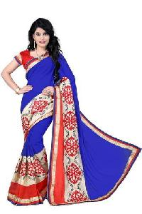 Blue Color Georgette Embroidery Designer Sarees 1