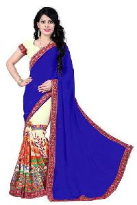 Blue Color Georgette Embroidery Designer Sarees