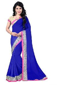 Blue Color Georgette Embroidery Designer Sarees 2