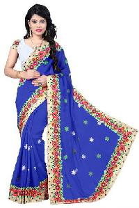 Blue Color Georgette Embroidery Designer Sarees 5